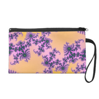 Fractal Arabesque - green and purple on yellow Wristlet