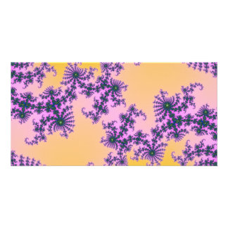 Fractal Arabesque - green and purple on yellow Card