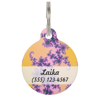 Fractal Arabesque - green and purple on yellow Pet Name Tag
