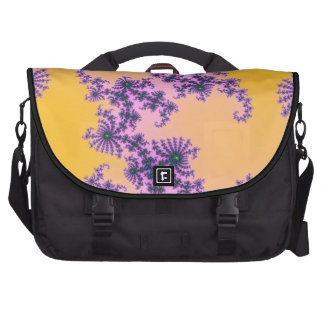 Fractal Arabesque - green and purple on yellow Bags For Laptop