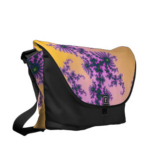 Fractal Arabesque - green and purple on yellow Courier Bags