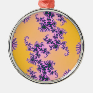 Fractal Arabesque - green and purple on yellow Round Metal Christmas Ornament