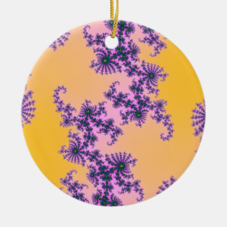 Fractal Arabesque - green and purple on yellow Double-Sided Ceramic Round Christmas Ornament