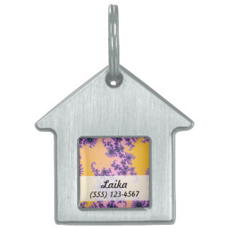 Fractal Arabesque - green and purple on yellow Pet Tags