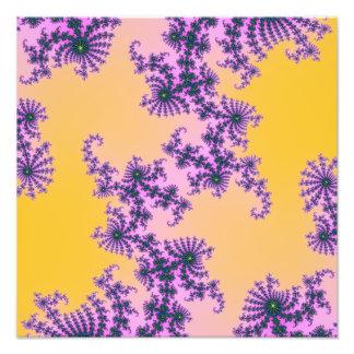Fractal Arabesque - green and purple on yellow Art Photo