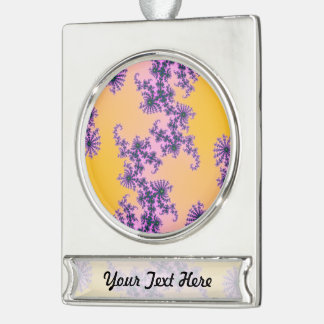 Fractal Arabesque - green and purple on yellow Silver Plated Banner Ornament