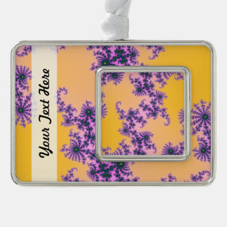Fractal Arabesque - green and purple on yellow Silver Plated Framed Ornament