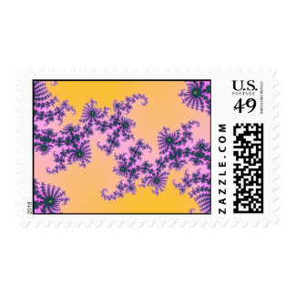 Fractal Arabesque - green and purple on yellow Postage
