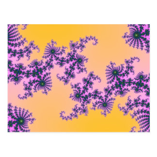 Fractal Arabesque - green and purple on yellow Postcard