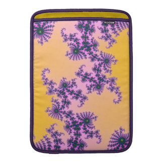 Fractal Arabesque - green and purple on yellow Sleeve For MacBook Air