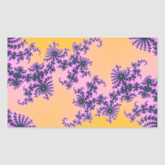 Fractal Arabesque - green and purple on yellow Rectangular Stickers