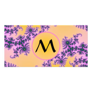 Fractal Arabesque with Monogram on Yellow Card