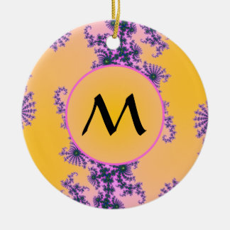 Fractal Arabesque with Monogram on Yellow Double-Sided Ceramic Round Christmas Ornament
