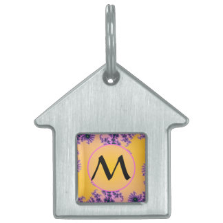 Fractal Arabesque with Monogram on Yellow Pet ID Tag