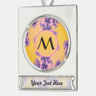 Fractal Arabesque with Monogram on Yellow Silver Plated Banner Ornament
