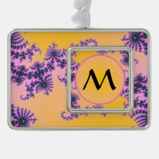 Fractal Arabesque with Monogram on Yellow Silver Plated Framed Ornament