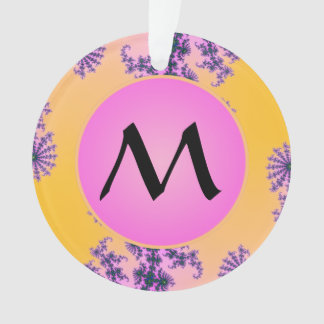 Fractal Arabesque with Pink Monogram on Yellow