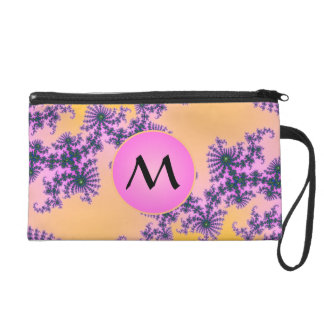 Fractal Arabesque with Pink Monogram on Yellow Wristlet Purses