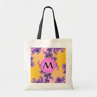 Fractal Arabesque with Pink Monogram on Yellow Canvas Bag