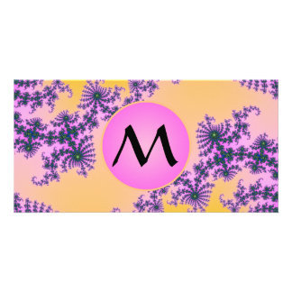 Fractal Arabesque with Pink Monogram on Yellow Card