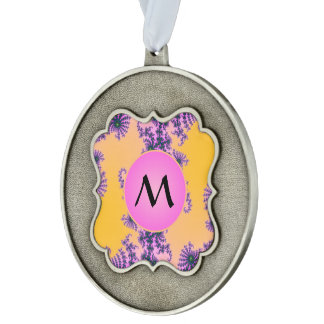 Fractal Arabesque with Pink Monogram on Yellow Scalloped Pewter Christmas Ornament