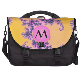 Fractal Arabesque with Pink Monogram on Yellow Laptop Bags