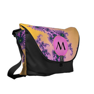 Fractal Arabesque with Pink Monogram on Yellow Messenger Bags