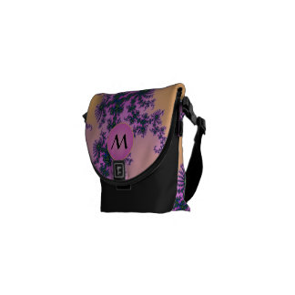Fractal Arabesque with Pink Monogram on Yellow Courier Bags