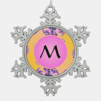 Fractal Arabesque with Pink Monogram on Yellow Snowflake Pewter Christmas Ornament