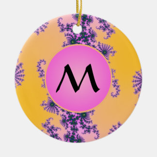 Fractal Arabesque with Pink Monogram on Yellow Double-Sided Ceramic Round Christmas Ornament