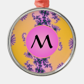 Fractal Arabesque with Pink Monogram on Yellow Round Metal Christmas Ornament