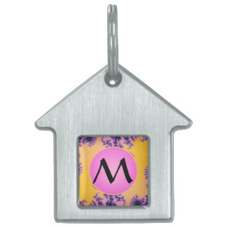Fractal Arabesque with Pink Monogram on Yellow Pet Name Tags