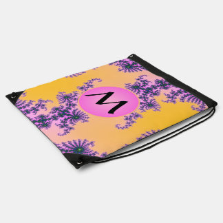 Fractal Arabesque with Pink Monogram on Yellow Drawstring Bags