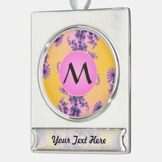Fractal Arabesque with Pink Monogram on Yellow Silver Plated Banner Ornament