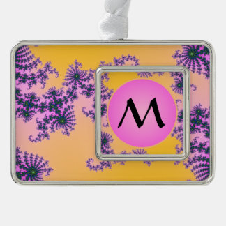 Fractal Arabesque with Pink Monogram on Yellow Silver Plated Framed Ornament