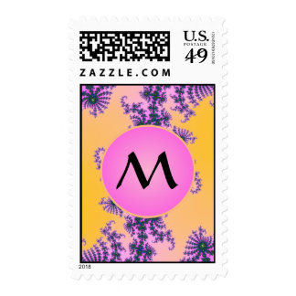 Fractal Arabesque with Pink Monogram on Yellow Postage
