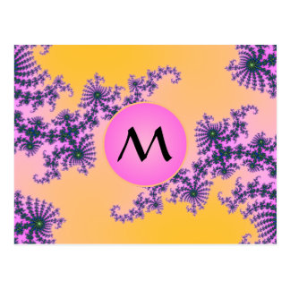 Fractal Arabesque with Pink Monogram on Yellow Postcard