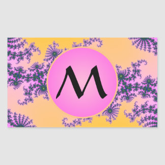 Fractal Arabesque with Pink Monogram on Yellow Rectangular Stickers