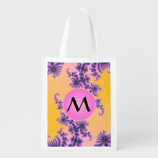 Fractal Arabesque with Pink Monogram on Yellow Market Totes