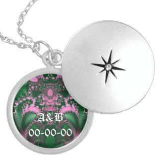 Fractal Art 003 EML Round Locket Necklace