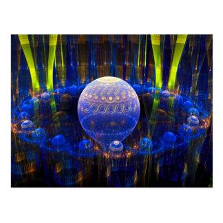 Fractal Art Abstract Spheres Blue  Digital Image Postcard