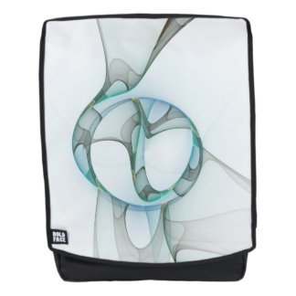 Fractal Art Blue Turquoise Gray Abstract Elegance Backpack