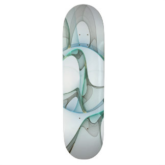 Fractal Art Blue Turquoise Gray Abstract Elegance Skateboard Deck