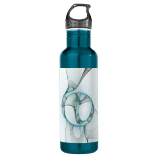 Fractal Art Blue Turquoise Gray Abstract Elegance Stainless Steel Water Bottle