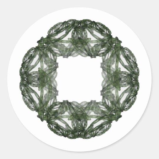 Fractal Art Christmas Wreath Classic Round Sticker