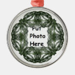 Fractal Art Christmas Wreath Frame Round Metal Christmas Ornament
