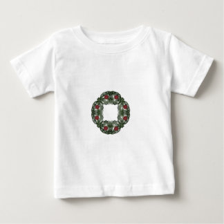 Fractal Art Christmas Wreath with Red Ornaments Baby T-Shirt