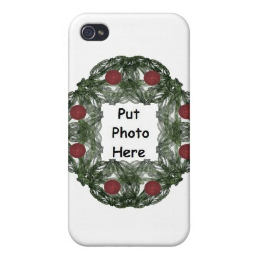 Fractal Art Christmas Wreath with Red Ornaments Covers For iPhone 4