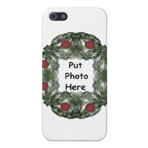 Fractal Art Christmas Wreath with Red Ornaments iPhone 5 Cover
