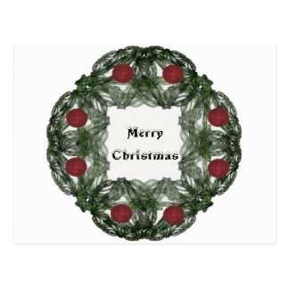 Fractal Art Christmas Wreath with Red Ornaments Postcard